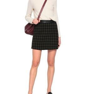 ALC Krisa Checked Leather-trimmed Crepe Mini Skirt